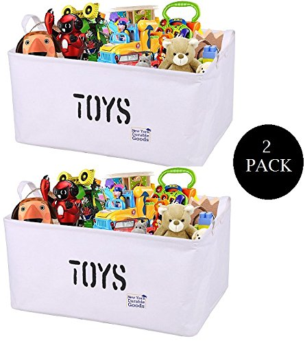 [2-Pack, 22inch XXL] CANVAS Storage Container Bin Basket Organizer EASY Multipurpose Organizing Toy Storage Baby Kids Pet Toys Closet Basket for Magazines Books Gift Baskets (Closest Market Basket)
