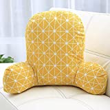 Creative Heightening Cushion Cotton Linen Office Waist pad Waist car seat Pillow Pregnant Women Bedside Waist Pillow (Yellow Grid)