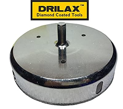 Drilax 6 inch Diamond Hole Saw Drill Bit Tiles, Glass, Fish Tanks, Marble, Granite Countertop, Ceramic, Porcelain, Coated Core Bits Holesaw DIY Kitchen, Bathroom, Shower, Faucet Installation