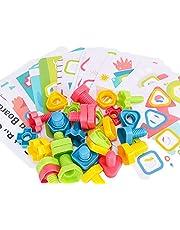 NC Montessori Bouten En Moeren Speelgoedblokken STEM-speelgoed Peutervormherkenning Puzzels Cadeaus Vanaf 3 Jaar Jongens Meisjes