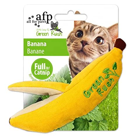 ALL FOR PAWS Juguetes para Gatos Green Rush Catnip, Banana, 16 cm ...