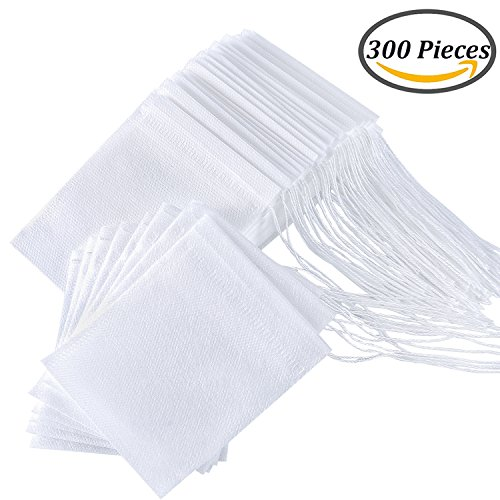 Check Out This Coobey 300 Pieces Tea Filter Bags Disposable Drawstring Tea Filter Bags for Loose Lea...
