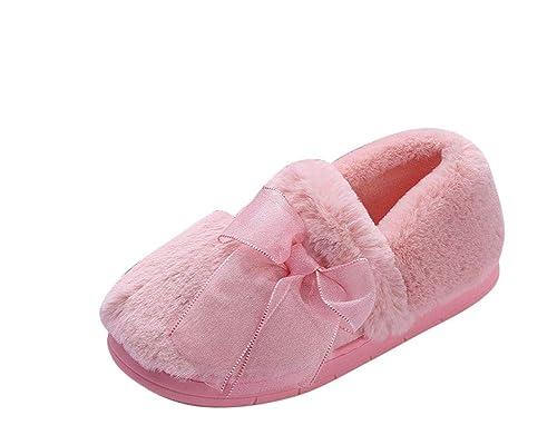 ZiXing Pantofole di per Donna - Antiscivolo Scarpe Chiuse Ciabatte Invernali  da Rosa EU 36 da43c44cded