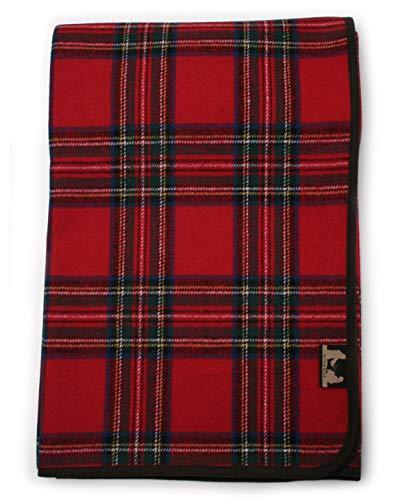 RUTH&BOAZ Tartan Plaid Wool Blend Throw Blanket(R) (Red, Normal)