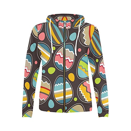INTERESTPRINT Custom Colorful Pattern Easter Eggs Women's Zipper Hoodies Sweatshirt S