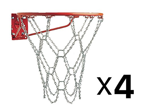Metal Chain Link Zinc Steel Durable Basketball Net (4-Pack) ()