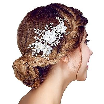 Meiysh Bridal Flower Side Hair Clips Pearl Bridal Headpiece Wedding Accessories(White)