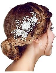 meiysh bridal flower side hair clips pearl bridal headpiece