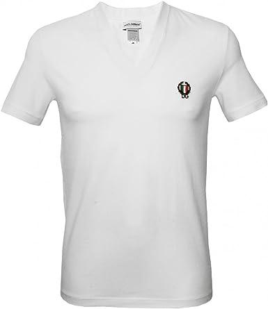 Dolce & Gabbana Deporte Cresta Profundo Con Cuello En V Camiseta De Los Hombres, Blanco Medio: Amazon.es: Ropa y accesorios