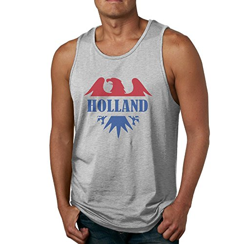 Eagle Flag of Netherlands Men's Novelty Athletic Basic Solid Cotton Tank Top Jersey Casual Shirts Undershirt Top Ash XX-Large