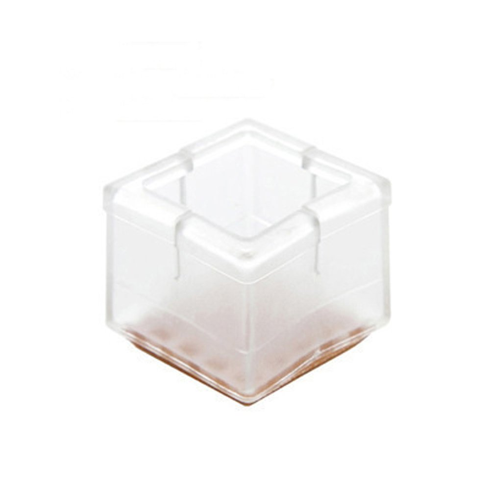 Flexible Chair Leg Floor Protectors Square Chair Leg Caps 1-1/8 to 1-3/8'' with Felt Pads Clear (24pack)