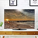 Leighhome TV dust Cover Magical Solar Eclipse on with Horizon Sun Globe Gulls ing View Cream Orange TV dust Cover W36 x H60 INCH/TV 65''