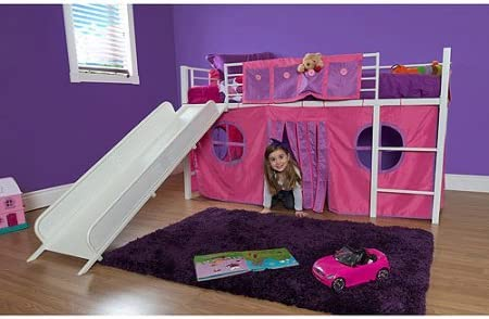 innovative design 137b9 52aac Eshion Girls Twin Bunk Loft Bed with Fun Slide and Princess Castle Curtain  Set, White Pink