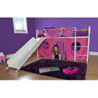 Eshion Girls Twin Bunk Loft Bed with Fun Slide and Princess Castle Curtain Set, White Pink