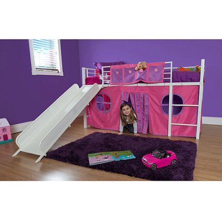 Eshion Girls Twin Bunk Loft Bed with Fun Slide and Princess Castle Curtain Set, White Pink (Loft Princess Beds)