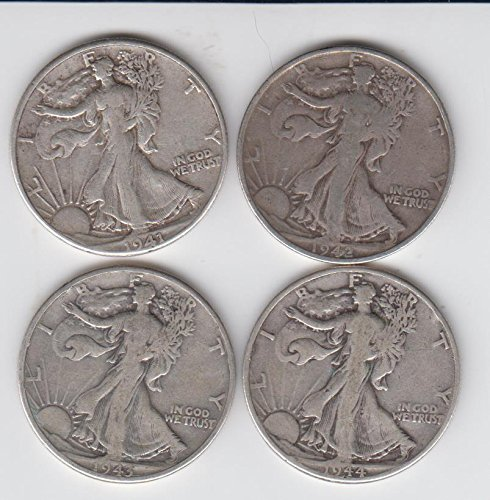 1941 , 1942, 1943, 1944 Walking Liberty Silver Half Dollars (4) Coins- Average Circulated condition Choice Fine (1944 Walking)