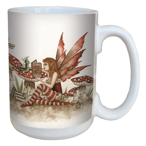 (Tree-Free Greetings lm43598 Fantasy Book Worm Reading Fairy Ceramic Mug with Full Sized Handle by Amy Brown, 15-Ounce )