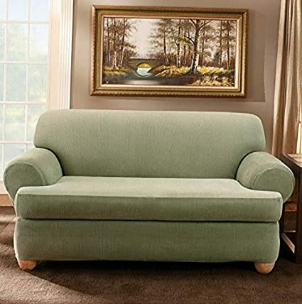 Amazon.com: Hebel Stretch Stripe T-Cushion Two Piece Sofa ...