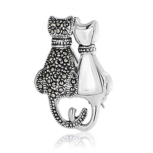 Black And White Marcasite Two Sitting Cat Kitten Kitty Brooch Pin For Women 925 Sterling Silver