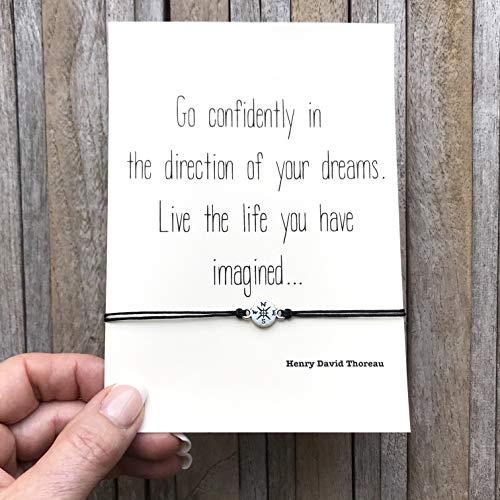 Graduation Gift, Friendship bracelet, Student gift, Follow your dreams, College graduation, High school graduation, compass bracelet from Carrie Clover