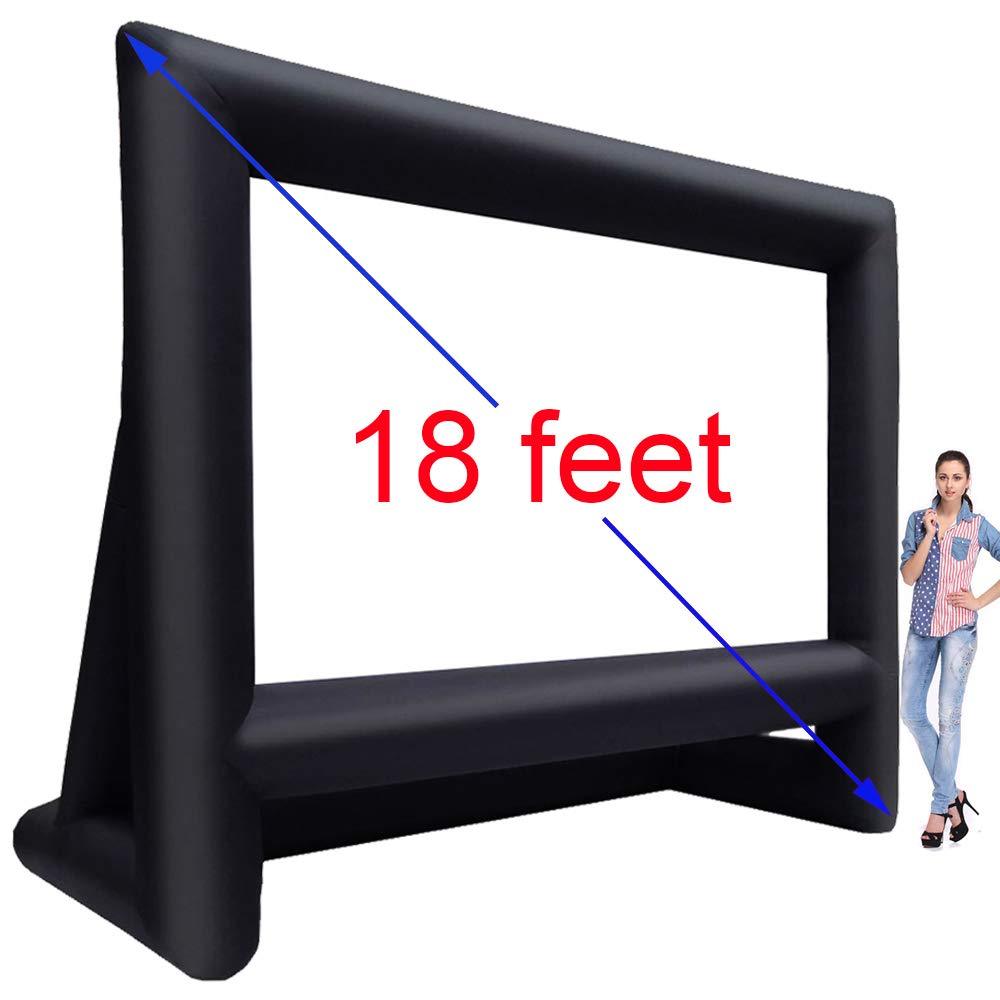 18' Inflatable Outdoor Projector Movie Screen - Package with Rope, Blower + Tent Stakes - Great for Outdoor Party Backyard Pool Fun (18 feet)