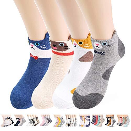 Novelty Socks Gift Sets for Cats Dogs Owls Giraffe Animal Lovers. Funny Crazy White Elephant Gift, Secret Santa Gift Exchange Idea for Women (4 Cats Aries) (Best Gifts For White Elephant Gift Exchange)