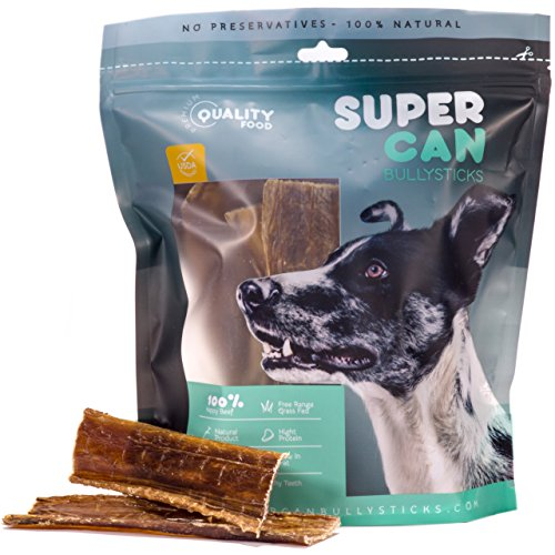 SUPER CAN BULLYSTICKS 6-inch Premium Taffy Esophagus Strips Dog Treats [ 20 Pack ] by SuperCan Bully Sticks - 100% All Natural Dog Chews. Delicious Free Range Grass Fed Beef. (9 oz)