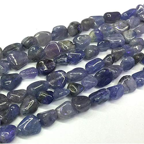 Earth Gems Park Super Fine Quality Gems Jewelry 1 Strands Natural Blue Tanzanite Nugget Free Form Fillet Irregular Pebble Beads 15' 6x7mm 04320-T Code:- BF-23033