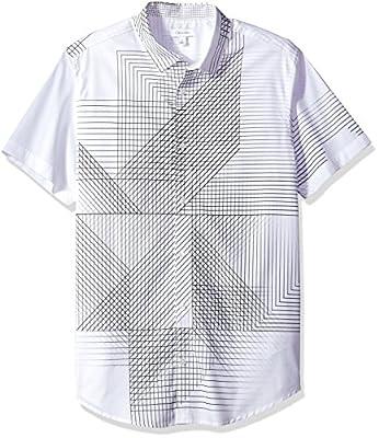 Calvin Klein Men's Short Sleeve 3D Linear Print Button Down Shirt