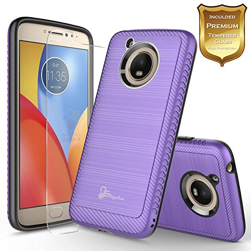 Moto E4 Plus Case with [Tempered Glass Screen Protector], NageBee Design [Carbon Fiber Brushed] [Heavy Duty] Defender [Dual Layer] For Motorola Moto E Plus (4th Generation) (Purple)