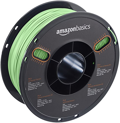 AmazonBasics PLA 3D Printer Filament, 1.75mm, Neon Green, 1 kg Spool by AmazonBasics