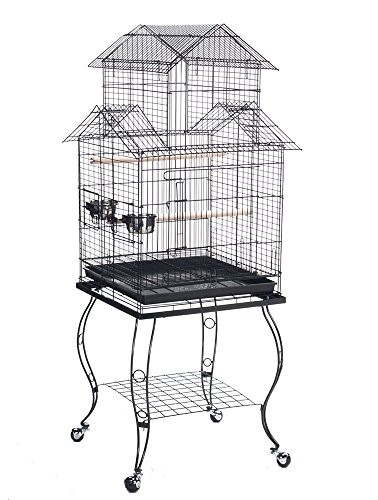 Finch Cage - NEW Large 20-Inch Large Canary Parakeet Cockatiel LoveBird Finch Roof Top Bird Cage With Removable Stand (Black Vein)