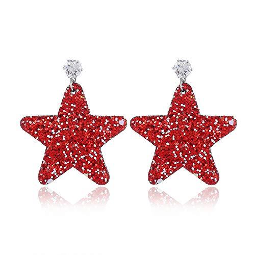 (Cute Earrings For Women 2019 Fashion Brand Jewelry Bohemia Accessories Geometric Colorful Punk Dangle Earrings,Star red)
