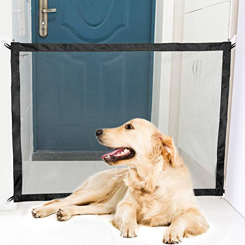 BINGPET Magic Gate for Dogs Pet Safety Enclosure Portable Folding Safe Guard Install Anywhere Mesh