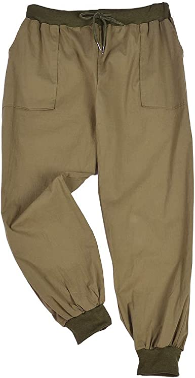 PLUS Size Cargo Pants 100/% Cotton Baggy Trousers Elastic Waist /& Drawstring