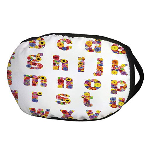 Fashion Cotton Antidust Face Mouth Mask,Letters,Floral Alphabet with Blooming Letters Sunflower Cornflower Dahlia Rainbow Image,Multicolor,for women & -