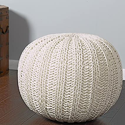 Knit Pouf Ottoman | Amazon Com L R Resources Poufs08124bon1814 Array Isle Bone Knitted