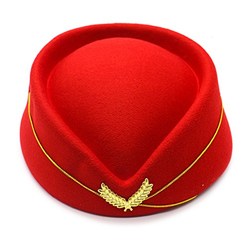 HUELE Wool Felt Stewardess Hat Stewardess Cap Flight Attendant Hat For Costume Cosplay Costume accessories-Red]()