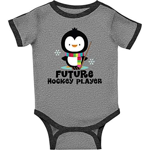 inktastic - Future Hockey Infant Creeper Newborn Ringer Heather and Smoke 1bfba