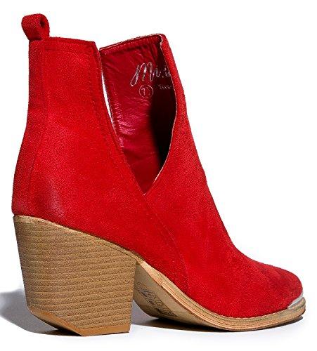 MI IM Western Slip auf V-Cut Out Stacked Heel Bootie - Seitlicher Schnitt aus Metall mit Knöchelzug Cowboy Women's Boot rot