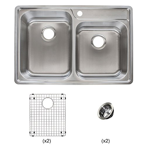 Franke Evolution All-in-One 33 Wide x 9-inch Deep Top Mount 1-Hole Offset Double Bowl Stainless Steel Kitchen Sink Kit, EVCAG901-18KIT, ...