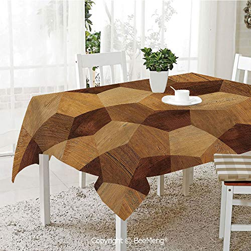 BeeMeng Dining Kitchen Polyester dust-Proof Table Cover,Abstract Parquet Flooring Wooden Rustic with Geometric Monochrome Pattern,Brown Light Brown59 x 59 inches