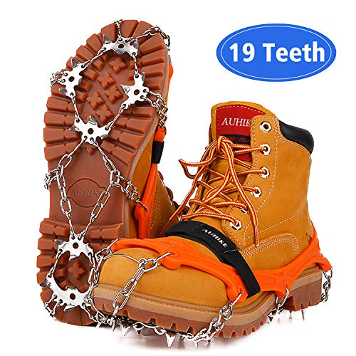 AUHIKE Upgraded Version 19 Spikes Traction Cleats Ice Snow Grips with Anti-Cracking Gasket Seamless Welded Steel Safe Protect,Crampons for Hiking Fishing Jogging Mountaineering Walking (Orange, S) (Best Ice Cleats For Walking)