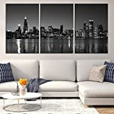 Chicago Downtown Night Skyline Canvas Print for Home Decoration, Large Chicago Canvas Print, Chicago on Canvas Painting for Living Room Wall Art Decor