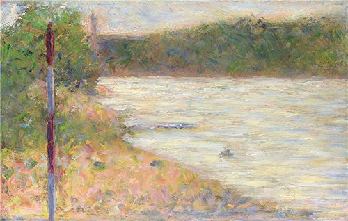 Oil Painting 'Georges Seurat - A River Bank (The Seine At Asnieres),about 1883', 30 x 47 inch / 76 x 120 cm , on High Definition HD canvas prints is (Halloween Poem Writing Frame)