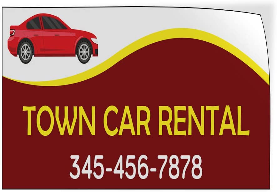 Custom Door Decals Vinyl Stickers Multiple Sizes Town Car Rental Phone Number Brown Business Town Car Rental Outdoor Luggage /& Bumper Stickers for Cars Red 58X38Inches 1 Sticker