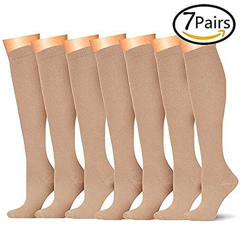 7 Pairs Compression Socks For Women and Men - Best Medical, Nursing, for Running, Athletic, Edema, Diabetic, Varicose Veins, Travel, Pregnancy & Maternity - 15-20mmHg, Small / Medium,  Nude (Compression Stockings)