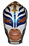 WWE Licensed Rey Mysterio Adult Size White with Blue/Silver Trim Leather Pro Grade Mask