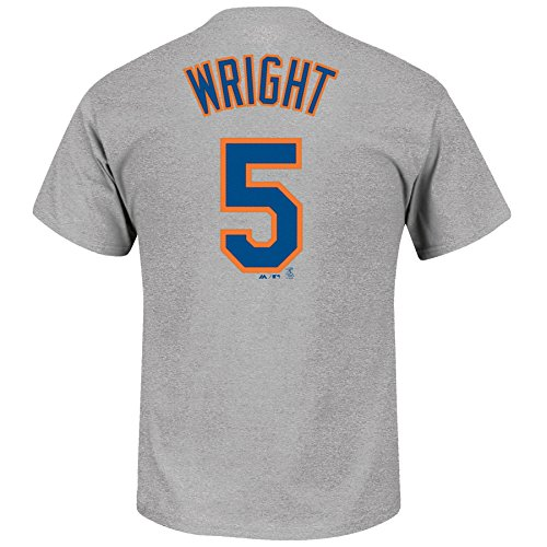David Wright New York Mets #5 MLB Youth Road Name & Number T-Shirt Gray (Youth Large 14/16) (Wright Jersey David)