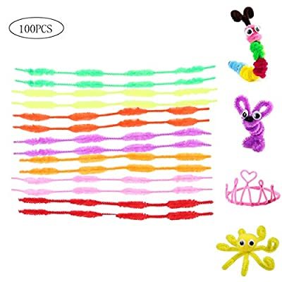 Happyyami 100pcs Pipe Cleaners Chenille Stems DIY Pipe Cleaners Art Craft Decorations Twisted Tie for Christmas Party: Office Products